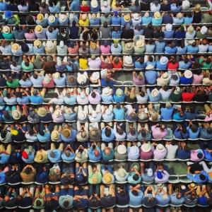 Bird's-eye view of people sitting down
