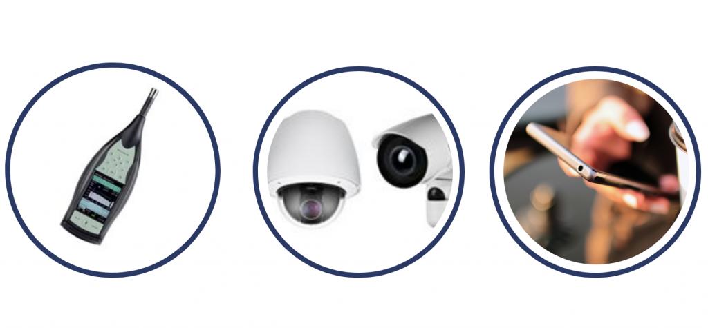 Image of sound sensor, cameras and mobile phone